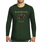 Majestic Threads Men's Minnesota Wild Tri-Blend Green Long Sleeve T-Shirt