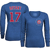 Majestic Threads Women's Chicago Cubs Kris Bryant 17 Royal T- Shirt