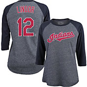 Majestic Threads Women's Cleveland Indians Francisco Lindor 12 Raglan Navy Three-Quarter Sleeve Shirt