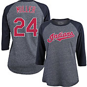 Majestic Threads Women's Cleveland Indians Andrew Miller 24 Raglan Navy Three-Quarter Sleeve Shirt