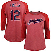 Majestic Threads Women's Cleveland Indians Francisco Lindor 12 Raglan Red Three-Quarter Sleeve Shirt