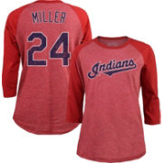 Majestic Threads Women's Cleveland Indians Andrew Miller 24 Raglan Red Three-Quarter Sleeve Shirt