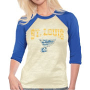 Majestic Threads Women's St. Louis Blues Burnout 3/4 Sleeve Raglan T-Shirt