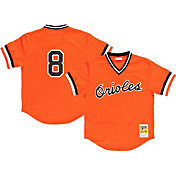 Mitchell & Ness Men's Replica Baltimore Orioles Cal Ripken Jr. Orange Cooperstown Batting Practice Jersey