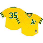 Mitchell & Ness Men's Replica Oakland Athletics Rickey Henderson Gold Cooperstown Batting Practice Jersey