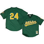 Mitchell & Ness Men's Replica Oakland Athletics Rickey Henderson Green Cooperstown Batting Practice Jersey