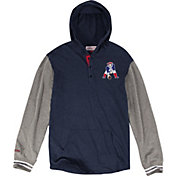 Mitchell & Ness Men's New England Patriots Hooded Blue Long Sleeve Shirt