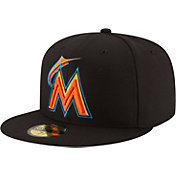 New Era Men's Miami Marlins 59Fifty Diamond Era Black Fitted Hat