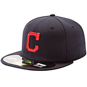 New Era Men's Cleveland Indians 59Fifty Road Navy Authentic Hat