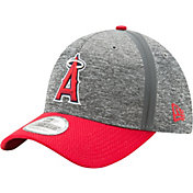 New Era Men's Los Angeles Angels 39Thirty Clubhouse Grey/Red Flex Hat