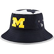 New Era Men's Michigan Wolverines Blue Logo Topper Bucket Hat