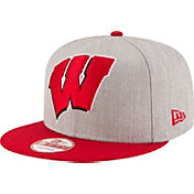New Era Men's Wisconsin Badgers Grey/Red Grand Snap 9Fifty Adjustable Hat