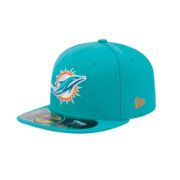 New Era Men's Miami Dolphins Sideline Authentic 59Fifty Fitted Aqua Hat