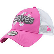 New Era Youth Girls' Atlanta Braves 9Twenty Pop Stitcher Pink/White Adjustable Hat