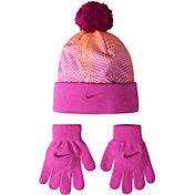 Nike Little Girls' Graphic Beanie and Gloves Set