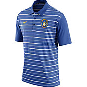 Nike Men's Milwaukee Brewers Dri-FIT Royal Striped Polo