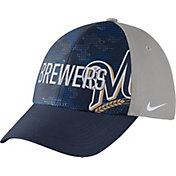 Nike Men's Milwaukee Brewers Dri-FIT Navy/Grey Swoosh Flex Fitted Hat