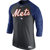 Nike Men's New York Mets Dri-FIT Authentic Collection Grey Legend Three-Quarter Shirt