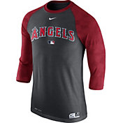 Nike Men's Los Angeles Angels Dri-FIT Authentic Collection Grey Legend Three-Quarter Shirt