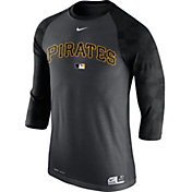 Nike Men's Pittsburgh Pirates Dri-FIT Authentic Collection Grey Legend Three-Quarter Shirt