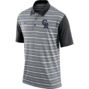 Nike Men's Colorado Rockies Dri-FIT Grey Striped Polo