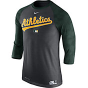 Nike Men's Oakland Athletics Dri-FIT Authentic Collection Grey Legend Three-Quarter Shirt