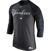 Nike Men's New York Yankees Dri-FIT Authentic Collection Grey Legend Three-Quarter Shirt