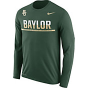 Nike Men's Baylor Bears Green Staff Sideline Long Sleeve Shirt