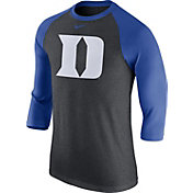 Nike Men's Duke Blue Devils Grey/Duke Blue Baseball Tri-Blend Logo Raglan Shirt