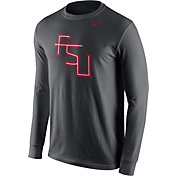 Nike Men's Florida State Seminoles Anthracite Logo Long Sleeve Shirt