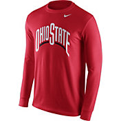 Nike Men's Ohio State Buckeyes Scarlet Wordmark Long Sleeve Shirt