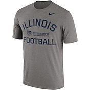 Nike Men's Illinois Fighting Illini Grey Lift Football Legend T-Shirt