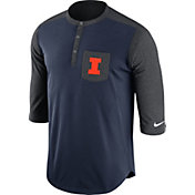 Nike Men's Illinois Fighting Illini Blue/Grey Dri-FIT Touch Henley Shirt