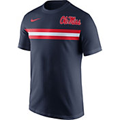 Nike Men's Ole Miss Rebels Blue Team Stripe Football T-Shirt