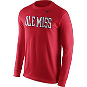 Nike Men's Ole Miss Rebels Red Wordmark Long Sleeve Shirt