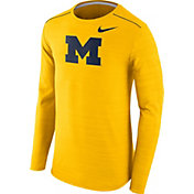 Nike Men's Michigan Wolverines Maize Player Dri-FIT Touch Performance Long Sleeve Shirt