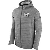 Jordan Men's Michigan Wolverines Grey Basketball Hyperelite Full-Zip Hoodie
