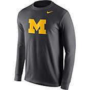 Nike Men's Michigan Wolverines Anthracite Logo Long Sleeve Shirt