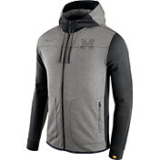 Nike Men's Michigan Wolverines Grey/Black AV15 Full-Zip Hoodie