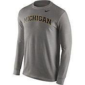 Nike Men's Michigan Wolverines Grey Wordmark Long Sleeve Shirt