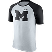 Nike Men's Michigan Wolverines Oatmeal/Black Gridiron Grey Jersey Hook T-Shirt