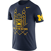 Nike Men's Michigan Wolverines Blue Enzyme Washed College Campus Elements T-Shirt