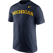 Nike Men's Michigan Wolverines Blue Wordmark T-Shirt