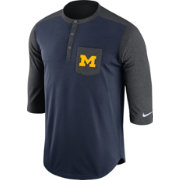 Nike Men's Michigan Wolverines Blue/Grey Dri-FIT Touch Henley Shirt