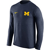 Nike Men's Michigan Wolverines Heathered Blue Dri-FIT Touch Long Sleeve Shirt