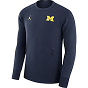 Jordan Men's Michigan Wolverines Blue 465 Icon Fleece Crew Sweatshirt