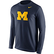 Nike Men's Michigan Wolverines Blue Logo Long Sleeve Shirt