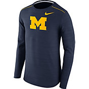 Nike Men's Michigan Wolverines Blue Player Dri-FIT Touch Performance Long Sleeve Shirt