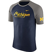 Nike Men's Michigan Wolverines Blue/Grey Script Tri-Blend Raglan T-Shirt