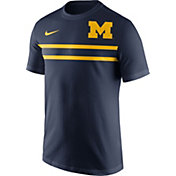 Nike Men's Michigan Wolverines Blue Team Stripe Football T-Shirt